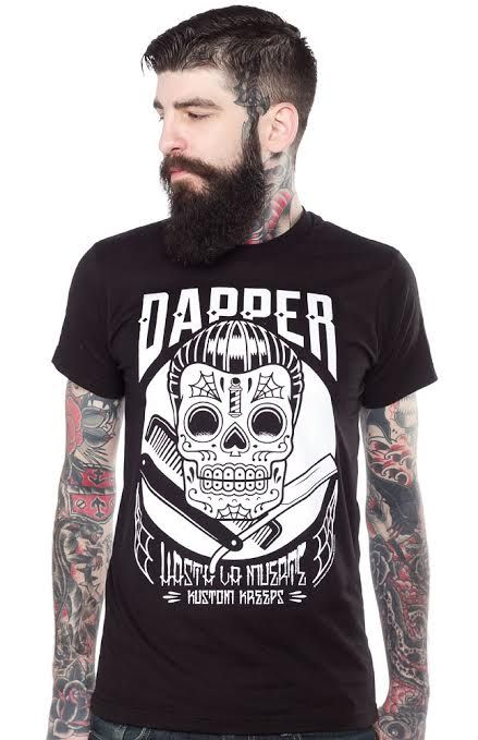 Kustom Kreeps Dapper Barber on black guys slim fit shirt by Sourpuss - SALE