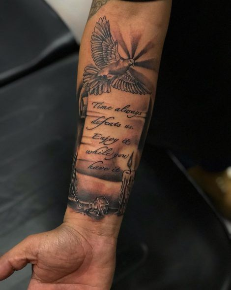 Time Always Defeats Us Enjoy It While You Have It Tattoo Dove Candle Feath Candle Mak In 2020 Men Tattoos Arm Sleeve Cool Forearm Tattoos Forearm Tattoo Quotes