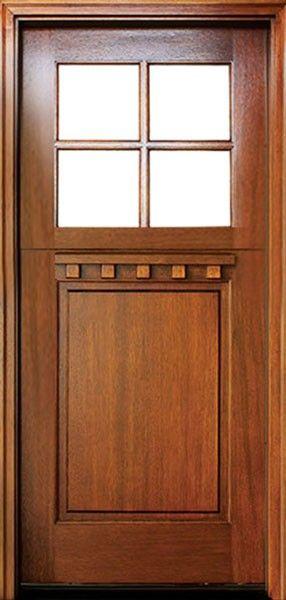 Craftsman Mahogany 1 Panel 4 Lite Square Single Door Dutch Door Single Doors Dutch Door Wood Exterior Door
