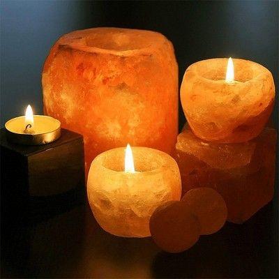 Natural Salt Candle Holder Orange 2pk Himalayan Glow In