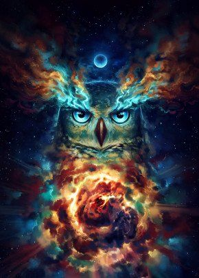 Aurowla - High quality fine art print signed by me. Perfect as wall art for creative homes. Shipped safely in a cardboard case. piece canvas art Aurowla - Signed Fine Art Print - Wall Decor - Fantasy Owl Galaxy Painting by Jonas Jödicke