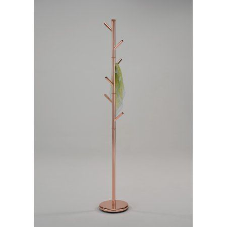 Barric Rose Gold Metal Transitional 6 Hook Free Standing Hall Tree Twig Style Coat Hat Rack Hanger 71 H Walmart Com Hall Tree Hat Rack Rose Gold Metal
