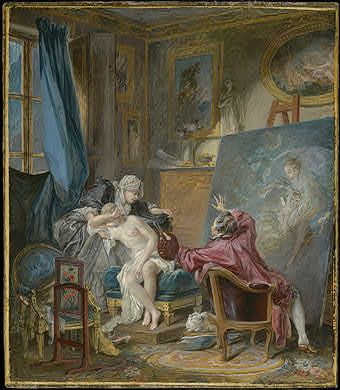 Baudouin, Pierre Antoine - The Honest Model - 1769.   I love the way Baudouin, a pupil of Boucher, is not afraid to expose the slightly seedy underside of 18th Century Parisian life, don't you?  He's the darker, less romantic version of Boucher.  ~Leah Marie Brown