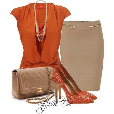 Combination of rusty orange and beige with gold accents  -- this could just as easly go with beige pants, capris, or shorts