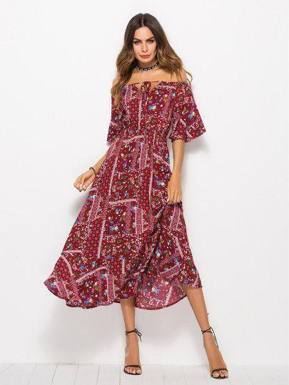 f180eee01 DESIGN Scallop neckline spot print prom midi dress in 2019 | Clothes &  Accessories 3 | Bardot dress, ASOS, Fashion