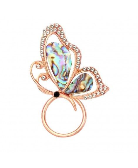 Red Abalone Shell Butterfly Brooches Gold Plated Rhinestone Insect Brooch Pin