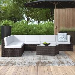 6 Piece Sofa Seating Group With Cushions Rattan Furniture Set Seating Groups Patio Furniture Sets