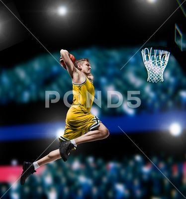 Photograph Basketball Player Making Slam Dunk On Basketball Arena 95442572 Basketball Players Slam Dunk Slam Basketball