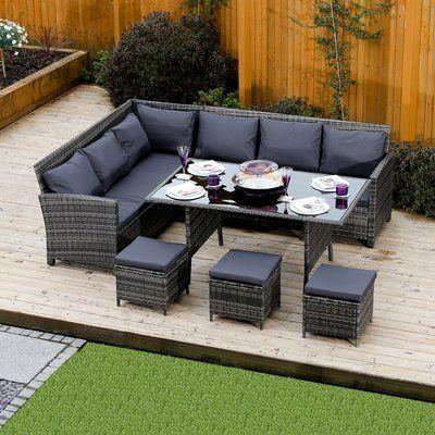 Sol 72 Outdoor 9 Seater Rattan Sofa Set Wayfair Co Uk Garden Sofa Set Rattan Garden Furniture Rattan Corner Sofa
