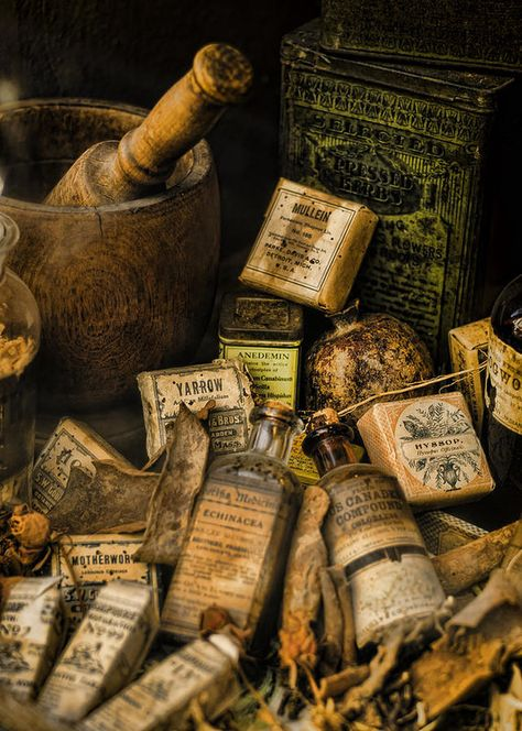 Pharmacy Photograph - Remedies by Heather Applegate Old Medicine Bottles, Old Bottles, Vintage Bottles, Apothecary Bottles, Anders Dragon Age, Vintage Medical, Harry Potter Aesthetic, Witch Aesthetic, Medical Equipment