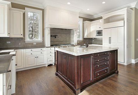 Kitchen decoration thumbnail size luxury kitchen snow white cabinets with dark walnut center island ski contemporary