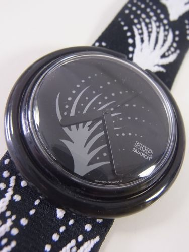 Swatch 1991 Pop Fireworks Black White Swiss Made Authentic Working