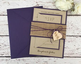 Rustic Invitation Burlap Wedding Invitation Purple Wedding