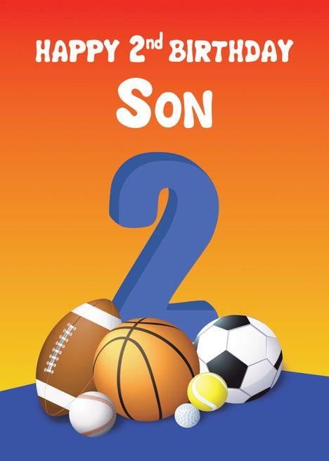 Son 2nd Birthday Sports Balls Card Ad Paid Birthday Son Sports In 2020 1st Boy Birthday Girl 2nd Birthday Happy Birthday Son
