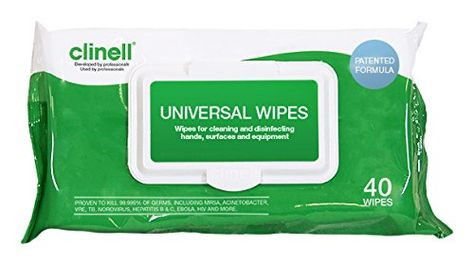 From 0 58 Clinell Universal Sanitising Wipes 40 Wipes Universal