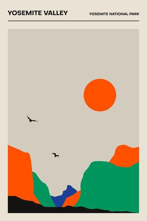 YOSEMITE VALLEY - Yosemite National Park - Poster - Minimalist Print | Printed Poster | Geometric | 24x36 print, wall art, travel wall art