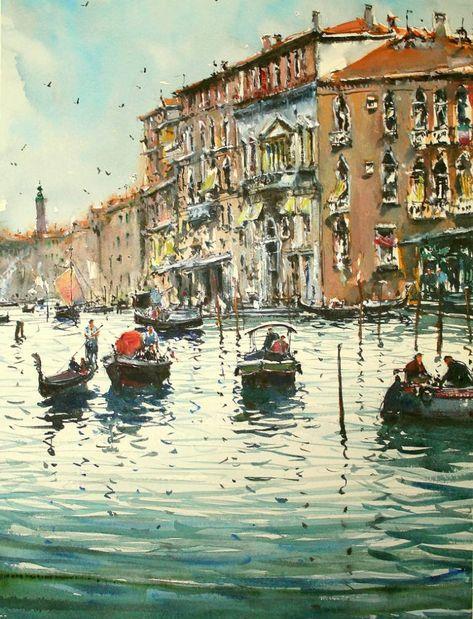 Original Cities Painting by Maximilian Damico   Impressionism Art on Paper   Venice Canal Grande