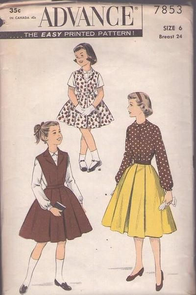 Momspatterns Vintage Sewing Patterns Advance 7853 Vintage 50 S Sewing Pattern Sharp Girls Blouse Box Plea In 2020 Kids Outfits Vintage Outfits Skirt Patterns Sewing