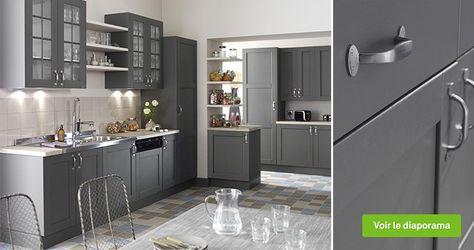 Meuble de cuisine gris DELINIA Nuage   Leroy Merlin ...