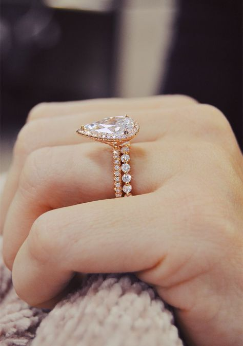3d15f3a98a0ac Handcrafted in Romantic rose gold. This stunning pear shaped halo ...