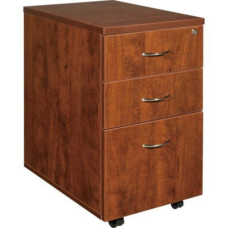 3 Drawers Vertical Wood Composite Lockable Filing Cabinet Cherry