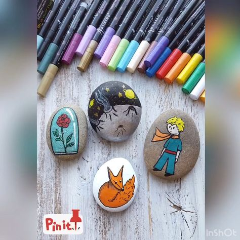 Perfect painted rock with Little Prince. Rock painting DIY tutorial. Cute painted rock with Little Prince. Step by Step DIY project from Artistro.