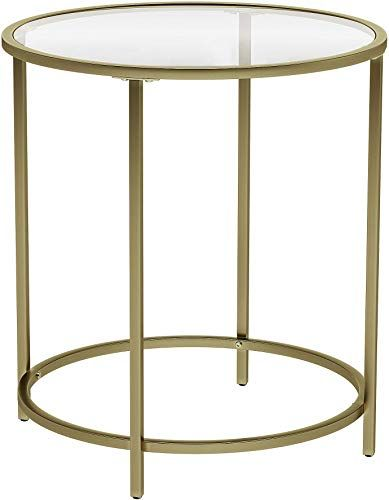 Buy Vasagle Round Side Table Tempered Glass End Table Golden