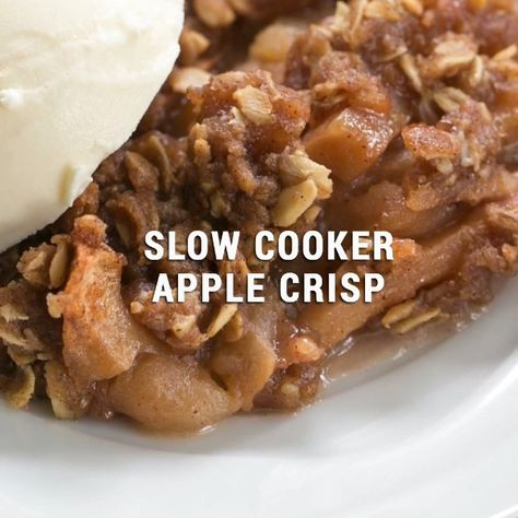 Try this Easy Slow Cooker Apple Crisp with Oatmeal when you need a quick and delectable dessert! Your kitchen will be filled with the most amazing aroma while it's cooking! #apples #easyrecipe #applecrisp #fall #autumn #slowcooker #crockpot #dessert #thatskinnychickcanbake