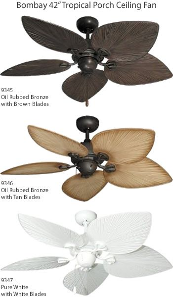 Bombay 42 5 Blade Tropical Porch Ceiling Fan Coastal Style