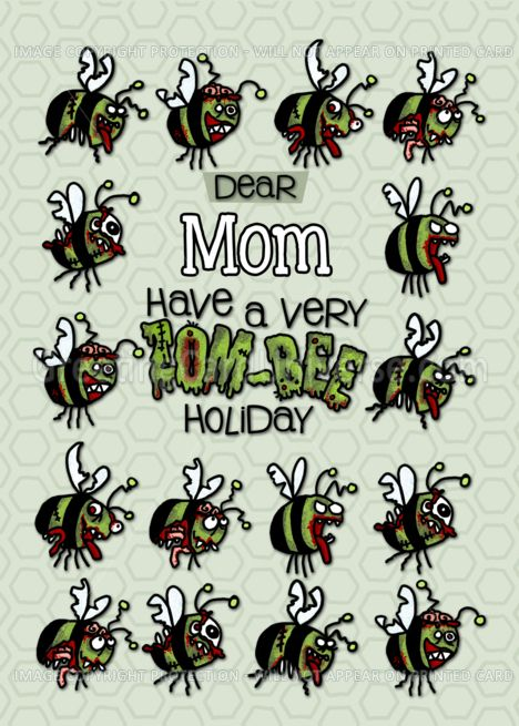 For Mom Zombie Christmas Zom Bees Card Bee Cards Zombie