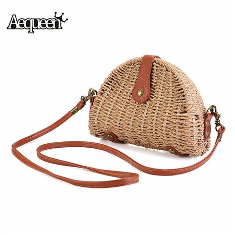 Womens Bamboo Bag Handmade Large Tote Ladies Handbags Beach Semicircl Clutch Bag