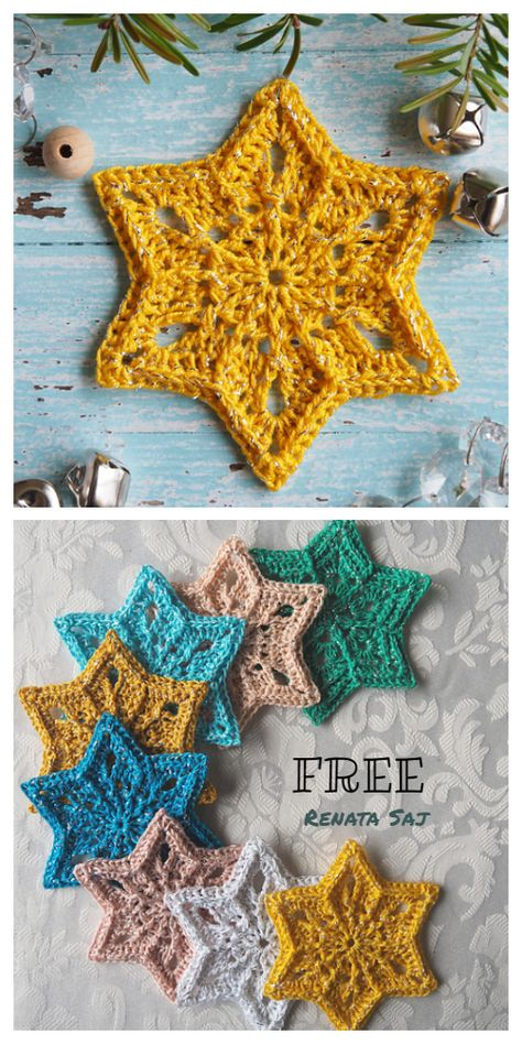 Christmas Star Ornament Free Crochet Patterns - DIY Magazine Christmas Star Snowflake Ornament Free Crochet Patterns Always wanted to discover how to knit, nonetheless not sure how . Diy Gifts For Christmas, Crochet Christmas Decorations, Crochet Christmas Ornaments, Crochet Decoration, Christmas Knitting, Christmas Stars, Christmas Projects, Christmas Lights, Holiday Cards