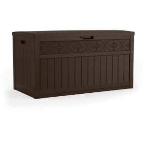 Suncast 47 Gal Patio Storage And Prep Station Bmps6400 The Home Depot In 2020 Resin Deck Box Resin Outdoor Storage Deck Box