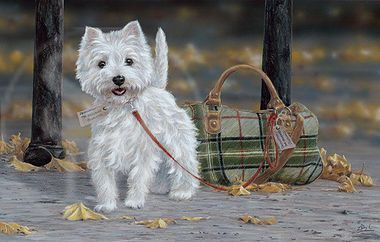 """ARTWORK-Killen on16 inch Fabric Panel to Sew.Pic is 8x10/"""". WestHighland WESTIE"""