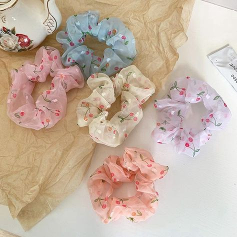 New Design Cherry Printing Pink Gauze Hair Ties Sweet Girls Designer Scrunchie For Kids Lady Women 2020 - Buy Big Scrunchies,Custom Scrunchies,Scrunchie Packaging Product on Alibaba.com