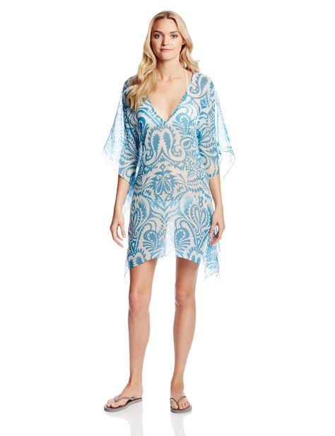 6c460f010f Echo Design Women's Block Print Beach Cover Up Caftan, Azure, One Size at Amazon  Women's Clothing store:
