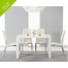 Ava 4 Seater High Gloss Furniture White Dining Set