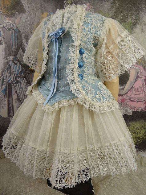 One-piece French satin and patterned lace antique dolls dress with pleated gauze skirt
