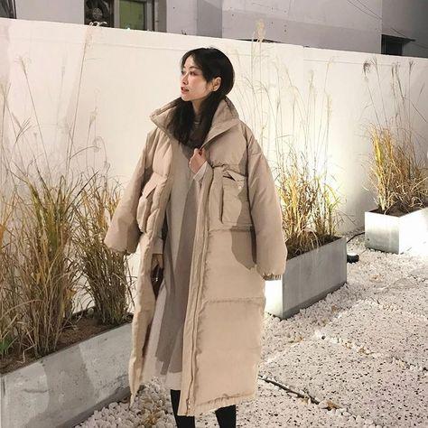 KOREAN OVERSIZE LONG WARM COAT - Apricot / One Size