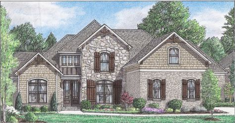 This 4 bedroom cottage home has a charming exterior and spacious interior.  Cottage House Plan # 241073.