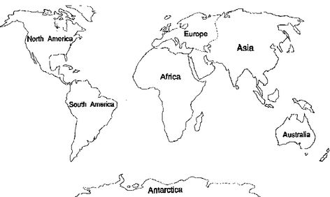 continent coloring pages - Google Search School Social Studies - new black and white world map with continents labeled