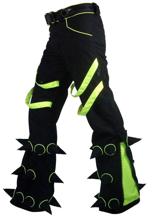 Spikey Pants : Black trousers with soft spikes, UV active piping and inserts, slim fit, leg zips.
