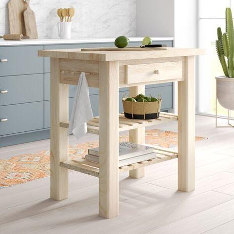 Lynn Prep Table Kitchen Island With Butcher Block Top Solid Wood Dining Table Wood Dining Table