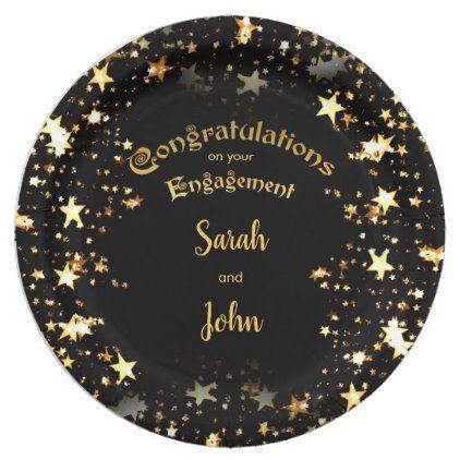 Elegant Black And Gold Engagement Party Paper Plate Zazzle Com