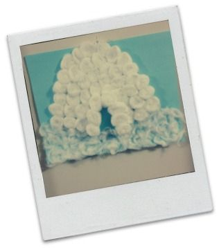 Winter Crafts for Children - cotton wool ball igloo
