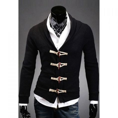 f8b9c8a682 Fashionable Style V-Neck Wood Buttons Embellished Long Sleeves Solid Color  Slimming Cotton Cardigan For Men