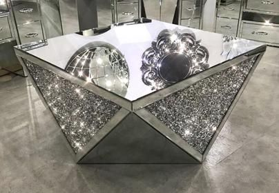 Exclusive Diamond Crush Mirrored Coffee Table Mirrored Coffee