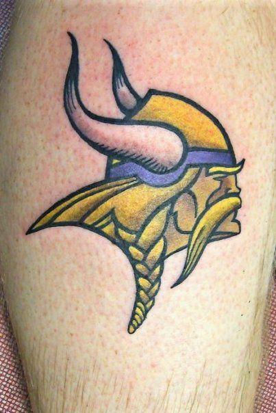 Minnesota Vikings mascot, color, tattoo by Jason at California Tattoos in Savannah, GA.