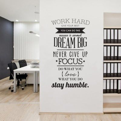 Work Hard Encouragement Proverb Study Room Wall Sticker Office Walls Sticker Wall Art Wall Quotes Decals