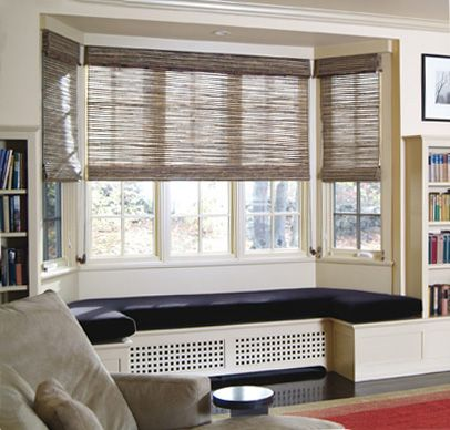 Geometric patterned roman blinds in a bay window. | Home Decor | Pinterest  | Roman blinds, Bay windows and Roman